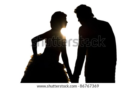 silhouette wedding on white backgrounds
