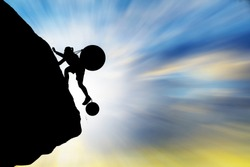 Silhouette woman climbing the mountain with large steel balls ,Concept problem and challenge.