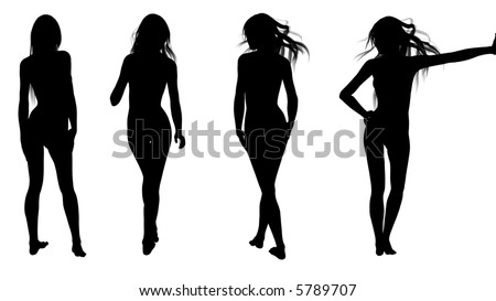 Silhouette: woman in various positions