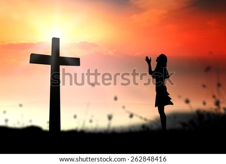 Woman Praying Silhouette Cross Silhouette Woman Praying Over