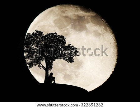 Silhouette woman sad on full moon background