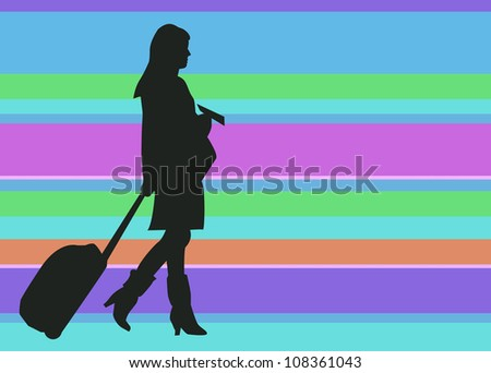 Silhouette Woman Traveler with Baggage and Ticket on Colorful Background. Negative Space.