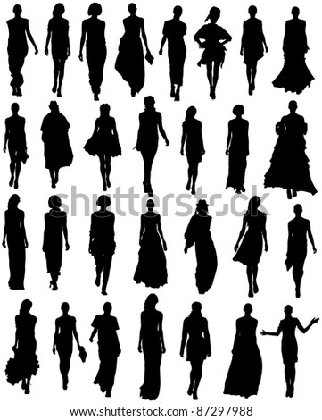 silhouette women models set on a white background