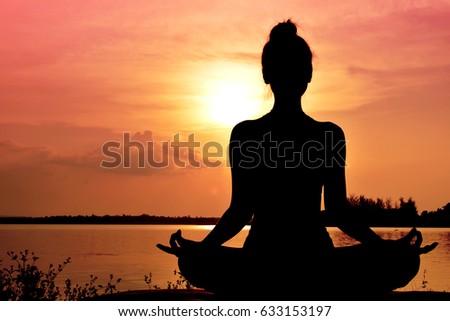 silhouette women yoga in nature ...