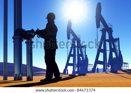Silhouette working near the station for oil. - stock photo
