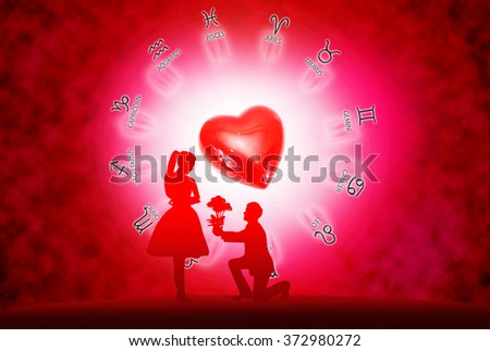 Silhouette young lovers on  background of horoscope and love concept. #372980272