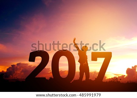 Shutterstock Silhouette young man Happy for 2017 new year