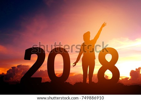 Silhouette young man Happy for 2018 new year #749886910