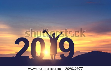 Silhouette Young woman Graduation in 2019 years, Concept education congratulation, copy space. #1209032977