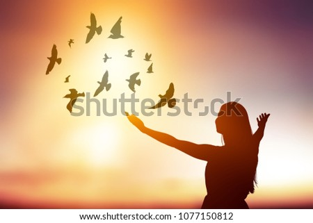 silhouette young women and birds