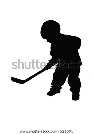 silhouetted boy playing hockey