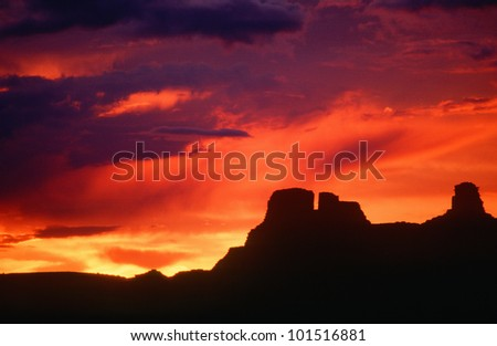 Silhouetted Indian ruins, Chaco Canyon at sunset, New Mexico