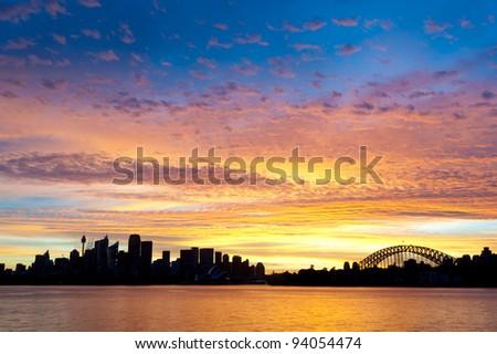 Silhouetted Sydney Australia Skyline