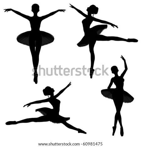 Silhouettes of a ballerina in a classical style tutu on a white background in various ballet poses -1