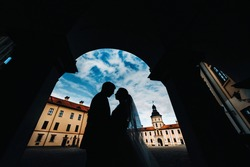 silhouettes of a couple in love at sunset on the background of the Nesvizh castle.