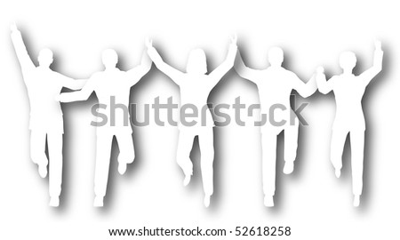 Silhouettes of a cutout business team crossing a finishing line