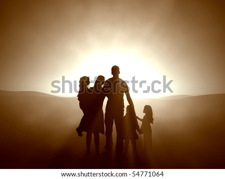 Silhouettes of a family looking towards the light. - stock photo