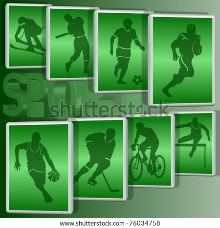 Silhouettes of a group of sportsmen in a white frame with a green background / sports - stock photo