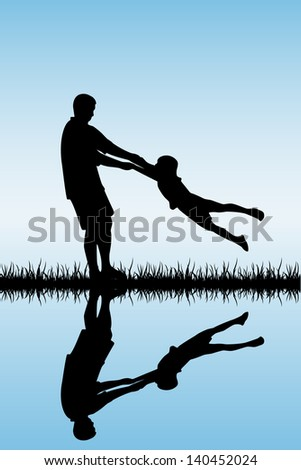 Silhouettes of a happy family of the father and the child, illustration.