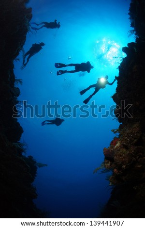 Silhouettes of a scuba divers swimming over an underwater canyon with a sun burst behind them - Riviera Maya, Mexico