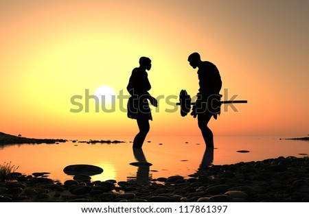 Silhouettes of ancient people in an outdoor setting.