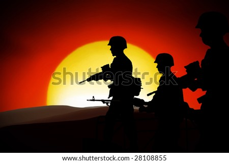 silhouettes of any Soldiers in back light