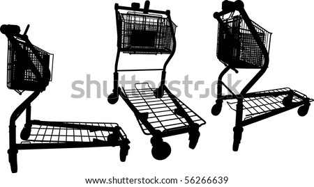 Silhouettes of Building materials supermarket shopping cart