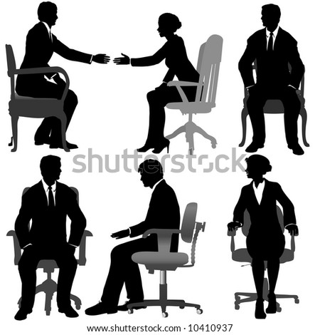 Silhouettes of Business men & women sit on office chairs, meeting, talking, making business deals.