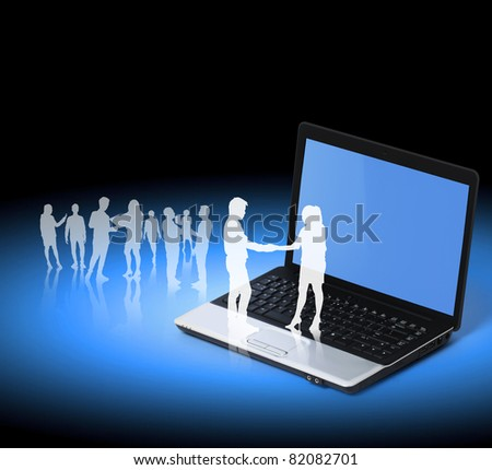 Silhouettes of business partners, Shake on a laptop