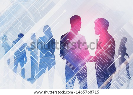 Silhouettes of business people communicating and discussing work over cityscape background with double exposure of network hologram. Concept of hi tech. Toned image