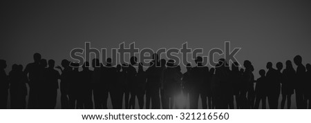 Silhouettes of Business People Gathering Outdoors #321216560