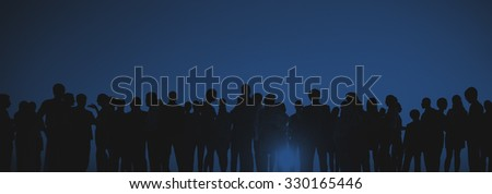 Silhouettes of Business People Gathering Outdoors #330165446