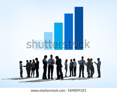 Silhouettes of Business People Working with Data and Growth Concept