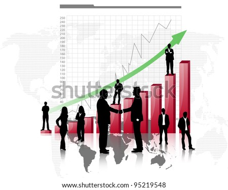 Silhouettes of business with red graph