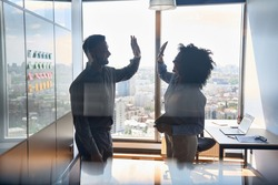 Silhouettes of cheerful successful business partners indian businessman and African American businesswoman colleagues giving high five celebrating business triumph in office at panoramic window.