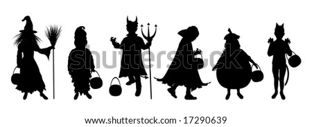 silhouettes of children trick or treating in Halloween costume