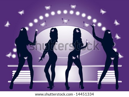 stock photo : Silhouettes of dancing girls without clothes in dress room