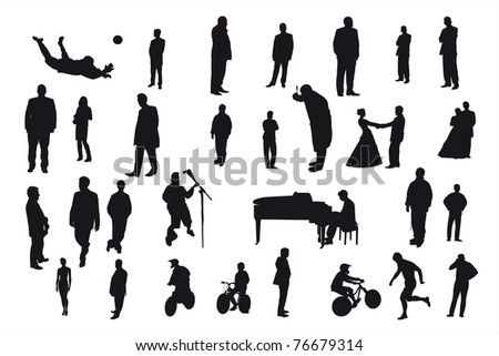 silhouettes of different people under the white background
