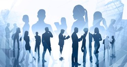 Silhouettes of diverse business people working together in blurry abstract city with creative double exposure effect. Concept of partnership and corporate life. Toned image