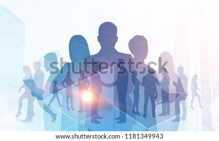 Silhouettes of diverse business team members standing together and shaking hands. Cityscape, communication and teamwork concept. Triangle tiles foreground Toned image double exposure copy space #1181349943