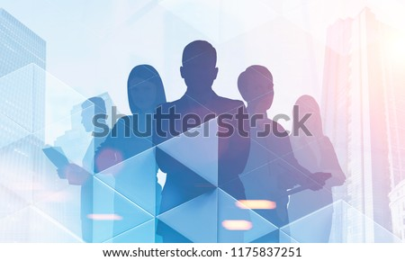 Silhouettes of diverse business team members standing together. Cityscape, communication and working as a team concept. Triangle tiles foreground Toned image double exposure copy space #1175837251