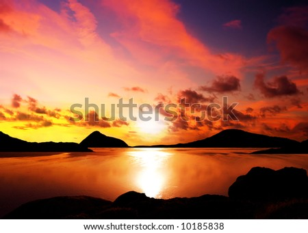 Silhouettes of islands during a beautiful sunset