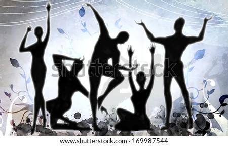 Silhouettes of men and women doing an artistic dance.