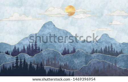 Silhouettes of mountains with trees. Abstraction of textured plaster with gold elements. Mural, mural, Wallpapers for interior printing Foto d'archivio ©