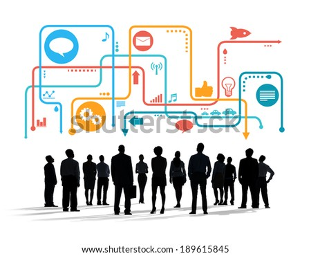 Silhouettes of Multiethnic Business People with Social Media Symbols #189615845