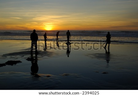 Silhouettes of people having fun on the ocean beach at sunset