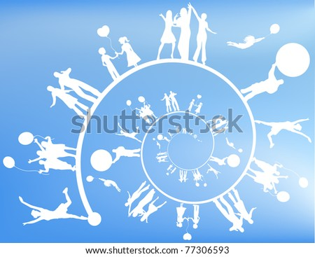 Silhouettes of people in a spiral.