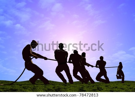 Silhouettes of people pulling the rope.