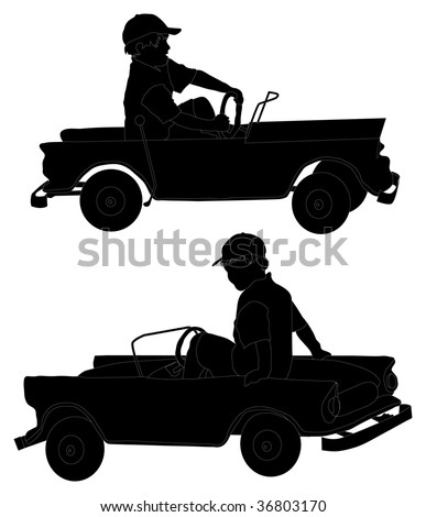 "Silhouettes of small boy ""driving"" toy car"