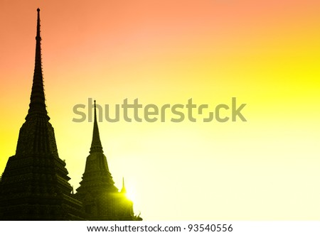 Silhouettes of stupas with copyspace, Bangkok, Thailand